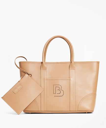 Logo-Embellished Leather Tote Bag