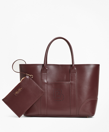 Logo-Embellished Leather Tote Bag