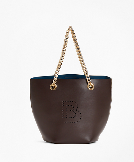 Logo-Embellished Leather Mini Tote Bag