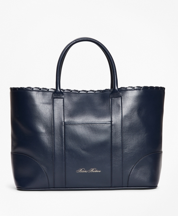 Logo-Embossed Leather Tote Bag Navy