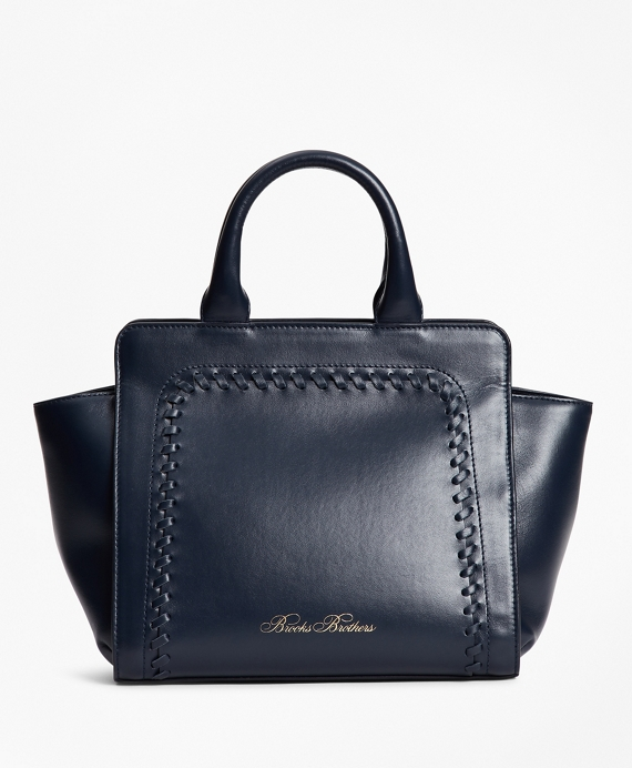 Leather Mini Tote Bag Navy