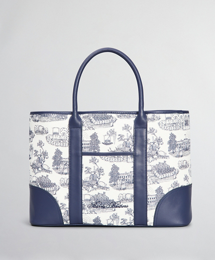 Leather-Trimmed Toile Canvas Tote Bag