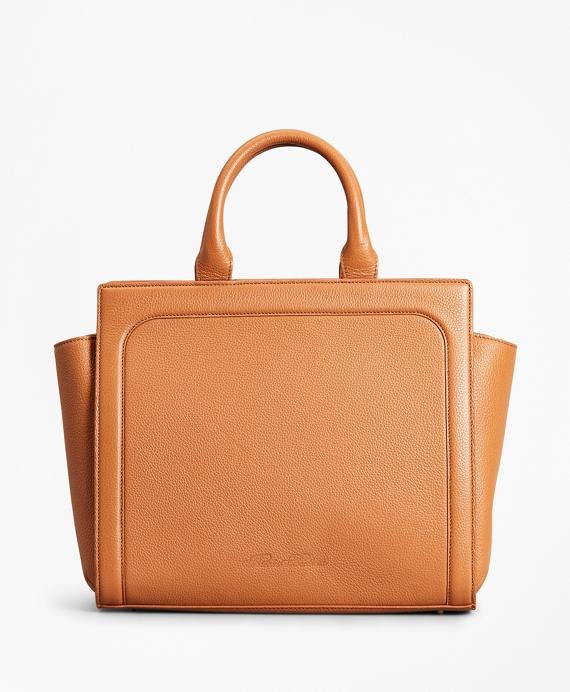 Pebbled Leather Tote Bag Tan