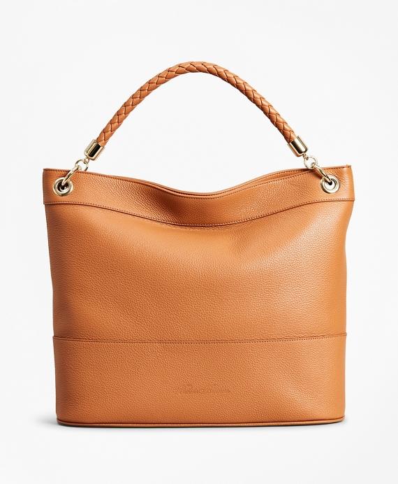 Pebbled Leather Hobo Bag Tan