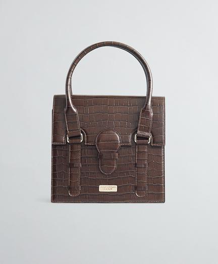 Crocodile-Embossed Leather Handbag