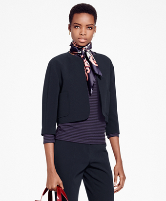 Jewel-Neck Crepe Satin Blazer