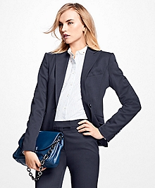Single-Breasted Stretch Twill Wool Blazer