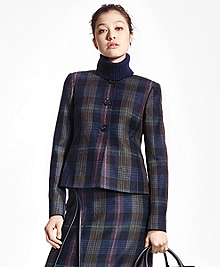 Tartan Wool Jewel-Neck Blazer