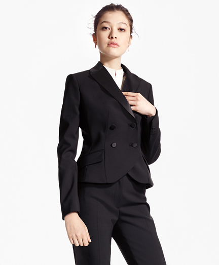 Double-Breasted Stretch Wool Tuxedo Jacket