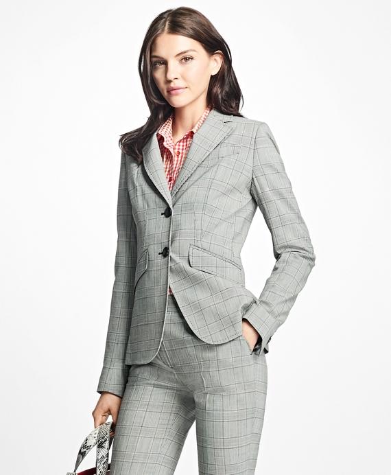 Stretch-Wool Glen Plaid Blazer Grey