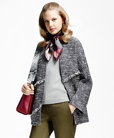 Tweed Fringe Inverted V-Neck Jacket