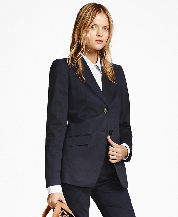 Two-Button Stretch-Cotton Twill Jacket Navy
