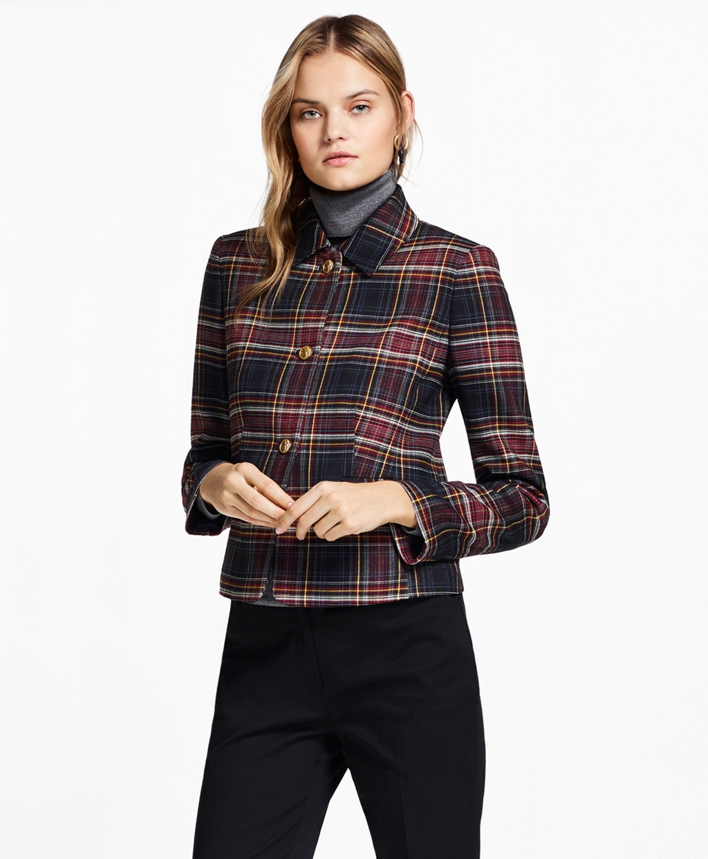 1930s Style Coats, Jackets | Art Deco Outerwear Brooks Brothers Womens Plaid Double-Face Wool-Blend Jacket $149.40 AT vintagedancer.com
