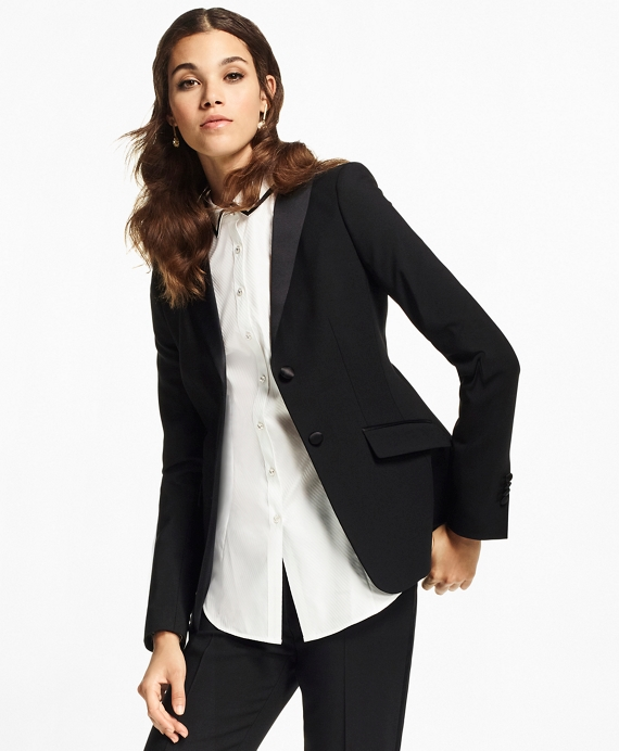 Stretch-Wool Crepe Tuxedo Jacket Black