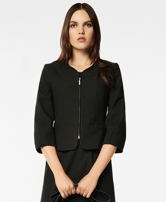 Stretch Cotton Pique Jacket Black