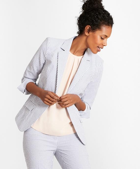 Striped Stretch Cotton Seersucker Jacket Brooks Brothers
