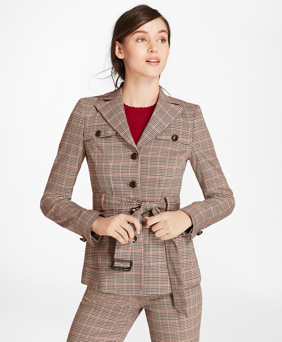 Houndstooth-Checked Stretch-Wool Belted Jacket Brown Multi