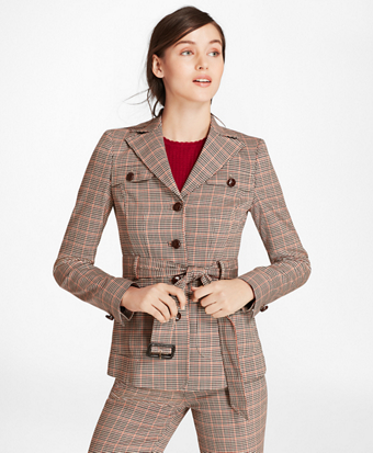 Houndstooth-Checked Stretch-Wool Belted Jacket