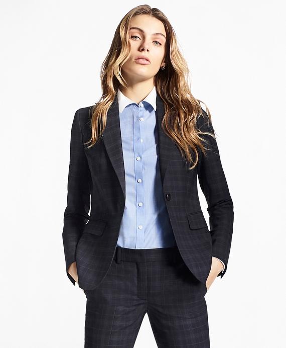 Plaid BrooksCool® Merino Wool Jacket Navy
