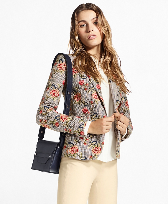 7d3f3a65120 Floral-Embroidered Mini-Houndstooth Cotton Jacket - Brooks Brothers