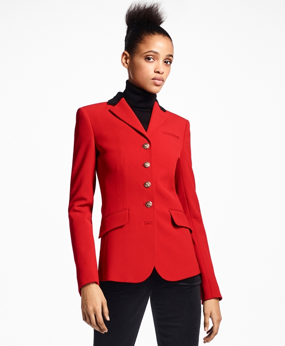 Stretch Wool Cavalry Twill Riding Jacket Red