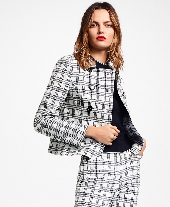 Plaid Stretch Cotton Double-Breasted Jacket Navy