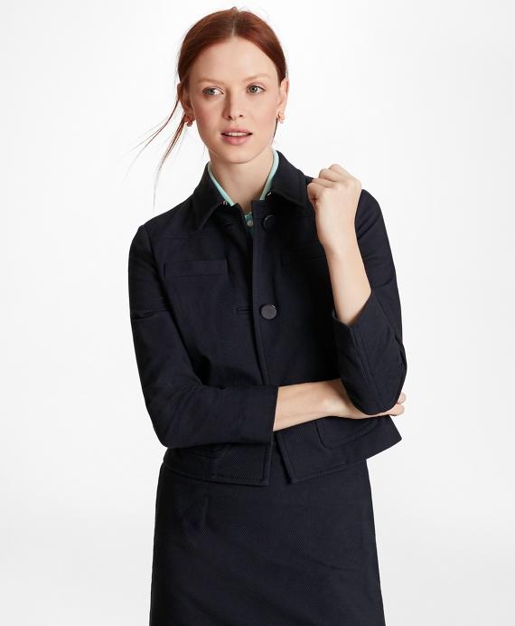 Stretch-Cotton Jacquard Cropped Jacket Navy