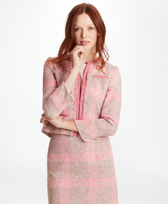 Checked Boucle Jacket Pink-Multi