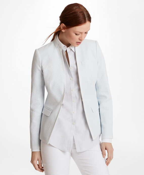 Polka-Dot Jacquard Jacket Pale Blue