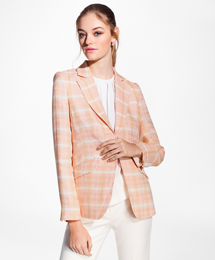 Madras Plaid Linen Jacket