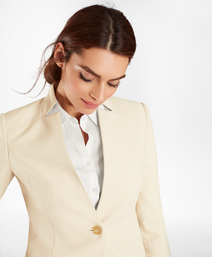 Double-Weave One-Button Jacket