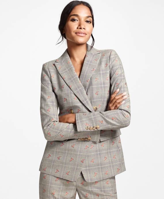 Floral Glen Plaid Wool-Cotton Double-Breasted Jacket Grey-Navy