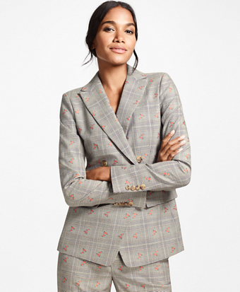 Floral Glen Plaid Wool-Cotton Double-Breasted Jacket