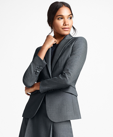 Bird's-Eye Stretch-Wool One-Button Jacket