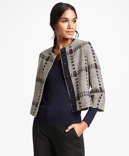 Wool-Silk Glen Plaid Cropped Jacket