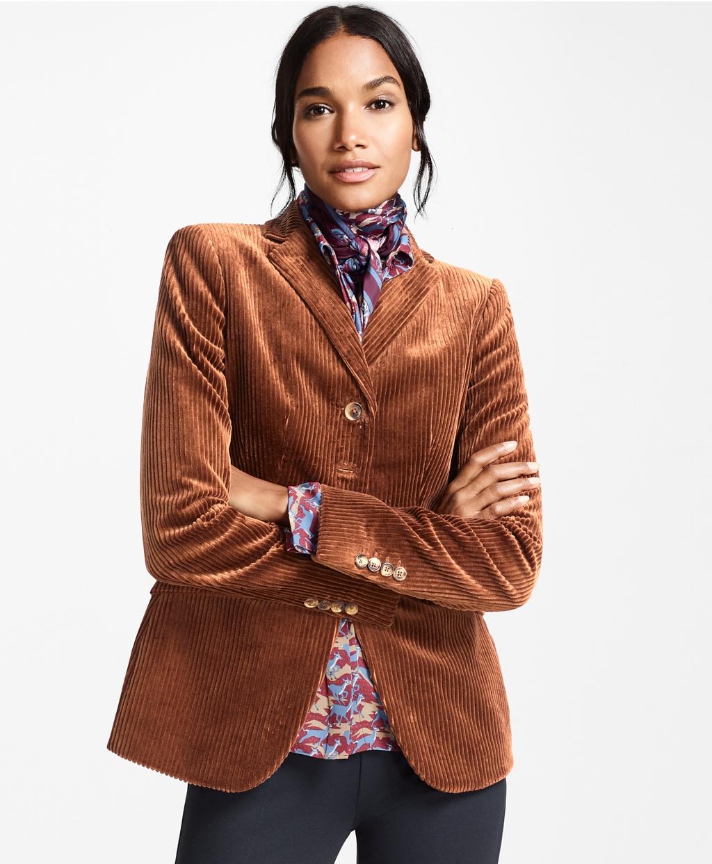 70s Jackets & Hippie Vests, Ponchos Brooks Brothers Womens Cotton Corduroy Jacket $398.00 AT vintagedancer.com
