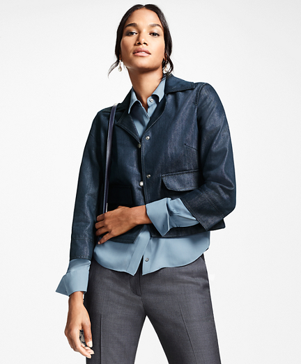 Water-Repellent Denim Cropped Jacket