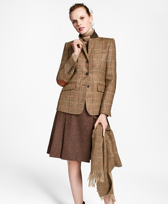 Checked Wool Tweed Hacking Jacket Brown