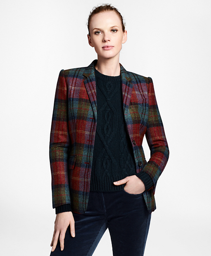 Plaid Wool Tweed Hacking Jacket