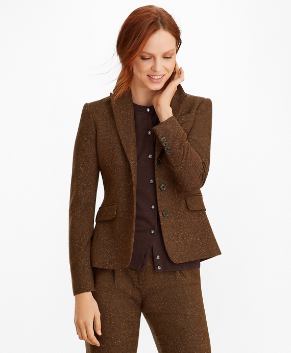 Stretch Wool Silk Tweed Jacket by Brooks Brothers