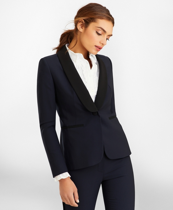Stretch-Wool Crepe Tuxedo Jacket Navy