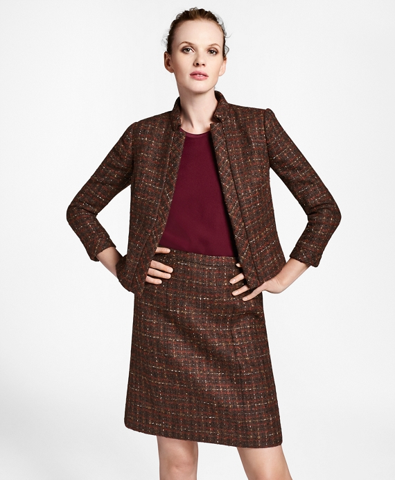 Checked Boucle Tweed Cropped Jacket by Brooks Brothers