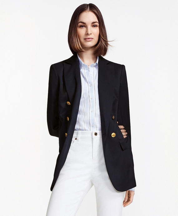 Double-Breasted Stretch Wool Blazer Navy