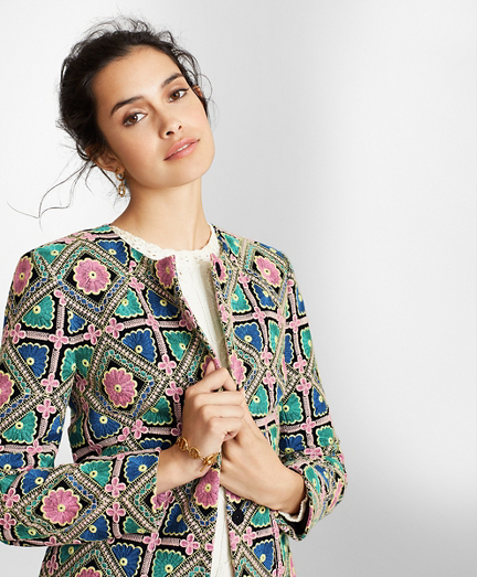 Floral-Embroidered Chiffon Jacket