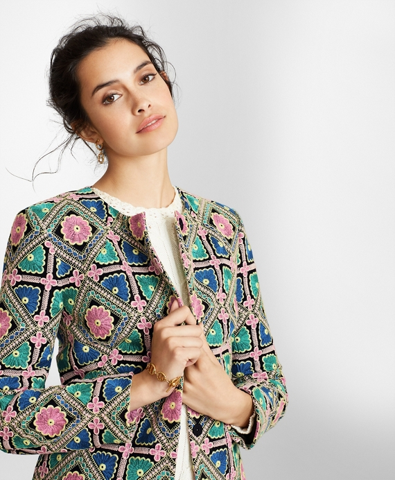 Floral-Embroidered Chiffon Jacket Multi