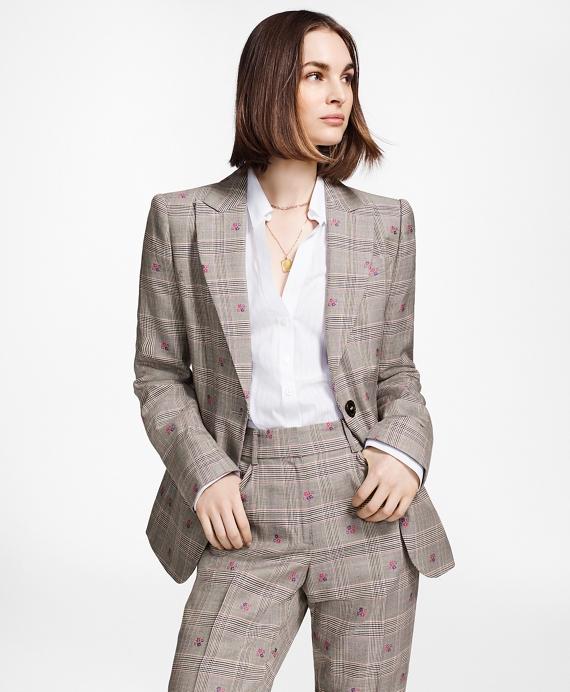 Floral Plaid Jacquard Jacket Grey