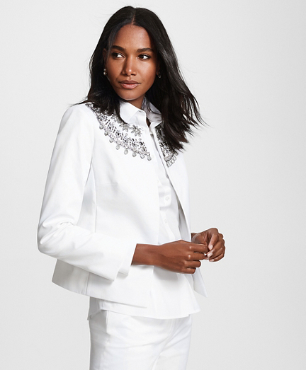 Beaded Cotton Sateen Jacket