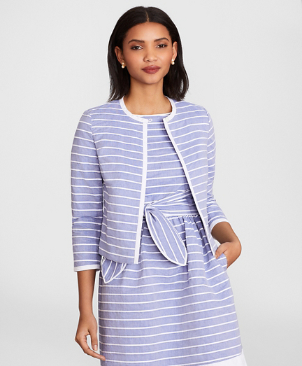 Striped Cotton Dobby Cropped Jacket