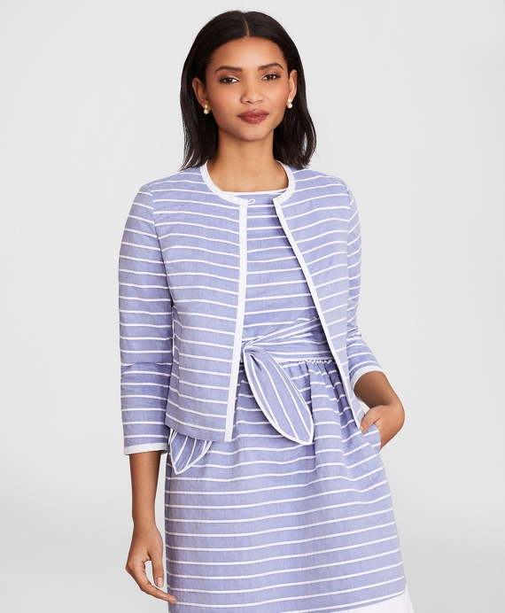 Striped Cotton Dobby Cropped Jacket Blue-White