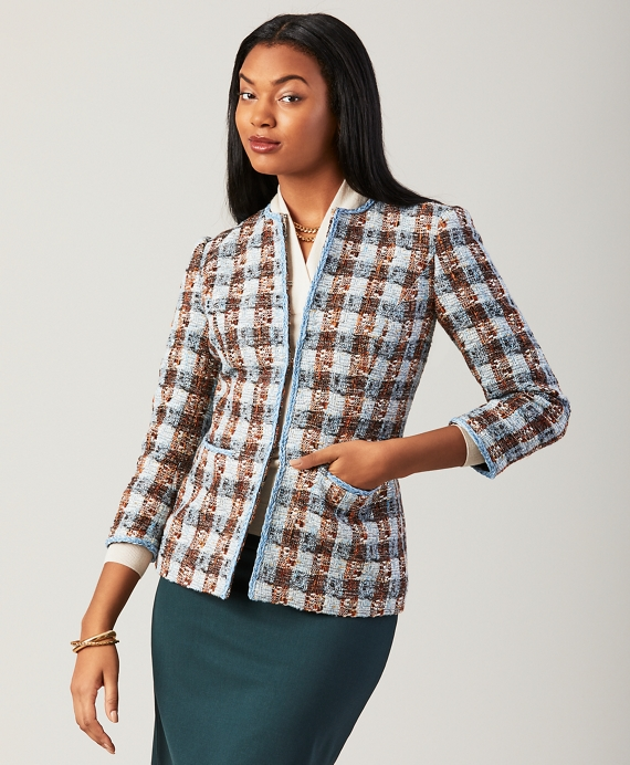 Checked Shimmer Boucle Jacket Light Blue-Multi